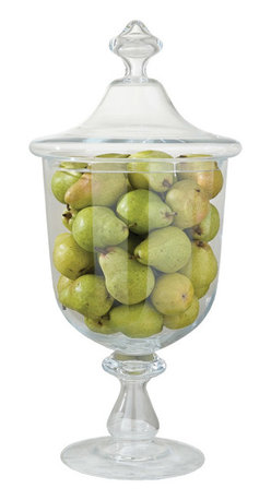 """Global Views - Global Views Abby's Pantry Jar - The Global Views Abby's Pantry jar tops contemporary tables with elegant style. Showcasing a curved silhouette, the glass pedestal vessel radiates sophisticated storage design. 13.25"""" Dia x 28""""H"""