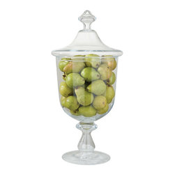 "Global Views - Global Views Abby's Pantry Jar - The Global Views Abby's Pantry jar tops contemporary tables with elegant style. Showcasing a curved silhouette, the glass pedestal vessel radiates sophisticated storage design. 13.25"" Dia x 28""H"