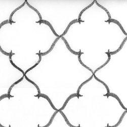 Medallion/Tile - Black/White Upholstery Fabric - Item #1009517-295.