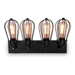 WestMenlights - Vanity Wall Sconce - Materials: Vintage Iron, Glass