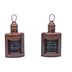 "Handcrafted Model Ships - Antique Copper Port and Starboard Oil Lamp 12"" - Port and Starboard Oil Lantern - This Antique Copper Port and Starboard Oil Lantern 12"" is an authentic and functional ship lantern set. Handcrafted from cast iron to create a vintage port and starboard replica lantern as used onboard tall ships, this ship lantern is true to the original design of period lamps. Each lamp can be identified by the words ""Port"" and ""Starboard"" at the top of each lantern. In addition the port lantern displays a green stained glass, while the starboard lantern has a red stained glass. Our boat lantern is fully functional and simply needs oil to omit light."