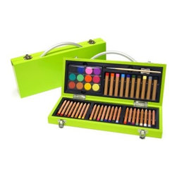 Xonex Junior Gallery Lime Green Art Set - As colorful as it is convenient the Xonex Junior Gallery Lime Green Art Set has a lacquered wood case and contains 24 colored pencils 10 oil pastels 12 watercolor cakes and one each; mixing palette paint brush and sharpener. It's also shrink-wrapped with descriptive slip sheet. About XonexThe folks at Xonex like to think that the reason for their success is their incredibly creative product line and fantastic staff of talented individuals. They know these two things are key to running a successful business but they're the first to admit that their customer's satisfaction is the true measure of their success. Xonex's stationery and art related products have gained quite a following in the world of gift retailers consumer catalogs and specialty chains. Xonex produces writing instruments with a twist creative art sets and beautiful stationery accessories. Their goal is to provide quality uniqueness and affordability - and to have fun doing it.