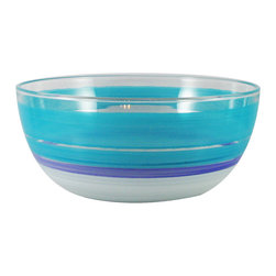 "Retro Stripe Turquoise 11"" Bowl - This is an 11"" bowl and is hand painted in a retro style.  It is turquoise with accent colors..  Perfect for the holidays or any season.  Something to be handed down from generation to generation. Proudly hand painted in the USA."