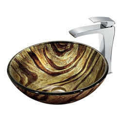 "Vigo - Zebra Vessel Sink in Multicolor with Chrome Faucet - The VIGO Zebra Above The Counter Round Tempered Glass Vessel Sink brings a radiant jungle light to your bathroom. Coupled with a chrome faucet, this sink brings a distinguished elegance into your bathroom.; Handmade with possible unique and slight color variations, so no two sinks are identical.; Solid tempered glass construction; Scratch-resistant glass; Non-porous surface prevents discoloration and fading; Stain-resistant, easy-to-clean surface; Polished glass interior with textured exterior; Above-counter installation; 1 3/4"" standard drain opening; VIGO Blackstonian Vessel Faucet features a simple, single lever and comes in a polished chrome finish; Solid brass construction and chrome finish ensure durability and longer life; Mineral-resistant nozzle is easy to clean; High-quality ceramic disc cartridge ensures maintenance-free use; VIGO finishes resist corrosion and tarnishing, exceeding industry durability standards; Features easy single-hole installation; All mounting hardware and hot/cold waterlines included; Water pressure tested for industry standard; Standard US plumbing 3/8"" connections included; Standard 1 3/8"" diameter opening is required for this faucet; Includes solid brass pop-up drain and solid brass mounting ring, both in matching finish.; Overall height: 11 1/2""; 2.2 GPM flow rate; This VIGO glass vessel bowl is cUPC certified, ANSI certified and ADA compliant; Limited Lifetime Warranty; Dimensions: 24""H x 24""W x 16""D"
