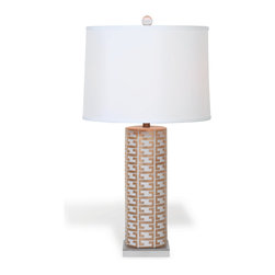 Port 68 - Cameron Lamp, White - Showcasing a modern interpretation of the classic Greek key pattern in gold, the Cameron Lamp in white is a vibrant and elegant way to brighten a living room or bedroom. The porcelain cylinder lamp features a square lucite base, crystal ball finial, brass hardware and white shade. Clear cord. 150 watt maximum, 3-way switch.  UL Listed.