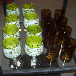 Chartreuse & White Wine Goblets / Tortoise Shell Tumblers - Chartreuse & White Wine Hand Blown Goblets