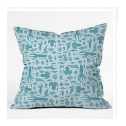 "DENY Designs - Jennifer Denty Sea Creatures Throw Pillow - Wanna transform a serious room into a fun, inviting space? Looking to complete a room full of solids with a unique print? Need to add a pop of color to your dull, lackluster space? Accomplish all of the above with one simple, yet powerful home accessory we like to call the DENY Throw Pillow! Features: -Jennifer Denty collection. -Color: Print. -Material: Woven polyester. -Sealed closure. -Spot treatment with mild detergent. -Made in the USA. -Closure: Concealed zipper with bun insert. -Small dimensions: 16"" H x 16"" W x 4"" D. -Medium dimensions: 18"" H x 18"" W x 5"" D. -Large dimensions: 20"" H x 20"" W x 6"" D. -Product weight: 3 lbs."