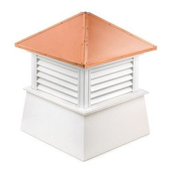 Good Directions Manchester Vinyl Cupola - The Good Directions Manchester Vinyl Cupola makes a great accent to you home or an extra source of ventilation for your barn or shed. The base is made from a combination of vinyl planks and boards with a louvered design for design or airflow. The canted roof is made from weather-resistant 24-gauge copper and lets you easily add a weathervane. 18, 22, 26, 30, 36, 42, 48, 54, 60, 72, and 84-inch square units are available to choose from. Instructions for mounting the unit are included. Mounting hardware for a weathervane attachment is also included.About Good DirectionsGood Directions got its start by creating weathervanes and cupolas, but it has expanded its line to include a wide range of decorative yet functional products for the home and garden, including popular Fire Domes, rain chains, and garden weathervanes. The company continues to attract innovative artists and designers eager to lend their vision to the creation of exceptional products to enhance the home, both indoors and out. No matter which way the wind blows, you can count on Good Directions to show you the way to a beautiful home.