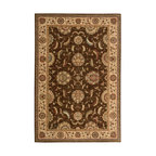 "Nourison - Nourison Living Treasures LI04 7'6"" x 9'6"" Brown Area Rug 67631 - Whirling and swirling in elegant arabesques, this beautifully woven floral design puts a new spin on tradition. Lush flowerheads burst with life on a field of richest sienna brown, with accents in sparkling ivory, papyrus and garnet."