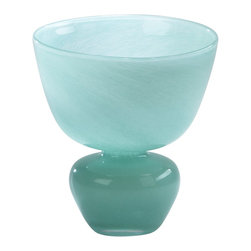 Cyan Design - Cyan Design Small Gabriella Vase X-08320 - A large mouth and cinched body create an unexpected flair of charm to this Cyan Design vase. The Gabriella vase features a glass body and subtle whirled milky texture that is complimented by soft and elegant shades of Turquoise blue.