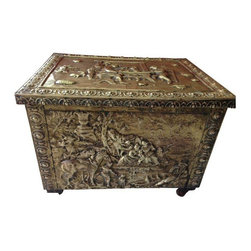 "Used Vintage Hammered Brass Log Box Chest - Vintage wooden fireplace box with hammered brass relief panels on the front, sides, and lid depicting three distinct Medieval scenes.  The hardwood box has its original hardware and hinges and is in excellent condition with no cracks or chips.  The hammered brass relief panels are in very good condition with a fine patina.    Measures 21.5 W x 17 D x 15.5"" tall."