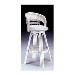"""South Sea Rattan - Bermuda Swivel Bar Stool 30"""" - The Bermuda Collection features a crisp, clean woven look that embodies a sense of casual elegance. The Bermuda Bar 30"""" Stool is no exception. With its durable, yet elegant construction, this bar stool is built to last. Customize the cushions on this bar stool to your liking. This piece coordinates with other seating pieces from the Bermuda collection and will not disappoint. Features: -Durable, yet elegant construction. -Coordinates with other seating and dining pieces from the Bermuda collection. Dimensions: -41"""" H x 17"""" W x 17"""" D, 30 lbs. About South Sea Rattan This wicker and rattan furniture line has been a stylish alternative in casual home furnishings since 1984. Wicker is a classic, natural material with centuries of history and it works well for the furniture buyer who wants a home reflecting the feel of casual elegance. Wicker furniture offers comfort, versatility and functionality. It mixes well with upholstered pieces, providing texture and nature to the home environment, patio or sunroom. Most wicker and rattan furniture originates from Southeast Asia and the materials are imported to the United States, where the furniture is assembled and finished by hand. The fabrics are from North & South Carolina mills and all cushions, covering and upholstery are crafted at the company's North Carolina facility. Rattan is a vine from the tropical forests of the Far East, where it grows hundreds of feet in length and is one of nature's strongest materials. Since it does not splinter or break, it is ideal for making furniture. Once molded, solid rattan retains its contours permanently. Peel is the outer skin of the rattan pole and traditionally is used to wrap the furniture joints. Wicker refers to products that are made from reed, cane, rush, willow or other woven natural materials. Wicker and Rattan are natural products with each piece having its own individual, unique qualities. When stained there will be slight di"""