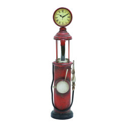 """Benzara - Free Standing Floor Clock As a Vintage Gas Pump - The ultimate clock as well as the ultimate piece of furniture for any vintage style home. This free standing floor clock has a unique style, built like a 1920s vintage gas pump, while the Roman numerals and circular housing take you back to the turn of the century. Enjoy it in the home office or even out on the back porch as well.; Made of metal; Size: 7""""x7""""x30"""""""