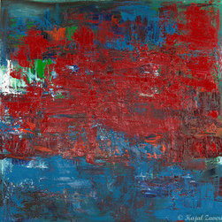 """""""Confidence"""" (Original) By Kajal Zaveri - A Beautiful, Heavily Textured, Layered Abstract Painting. The Thick Red On Blue For Me, Is The Inner Confidence We All Have To Achieve Anything We Want To Or You Can Have Your Own Interpretation For This Piece Or You Can Enjoy This For Just Its Visual Appeal."""