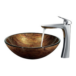 Vigo Industries - Amber Sunset Vessel Sink with 11.63 in. Faucet - Includes all mounting hardware, hot or cold waterlines and standard US plumbing 0.38 in. connections.