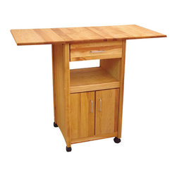Catskill Craftsmen - Catskill Craftsmen Drop Leaf Butcher Block Kitchen Cart in Natural Finish - Catskill Craftsmen - Kitchen Carts - 7222 - The Catskill Craftsmen Open/Enclosed Drop Leaf Cart adds convenience and storage to your kitchen. The wheels provide great mobility and make this an easy addition to your kitchen. So cook up a gourmet meal with the Open/Enclosed Drop Leaf Cart.