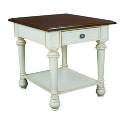 """Hammary - Hammary Promenade Drawer Rectangular End Table - Drawer End Table belongs to Promenade collection by Hammary Everything about Hammary's luxurious """"Promenade"""" collection is big - the sweeping dimensions, the ambitious design, the abundance of fine materials. But nothing is bigger than the idea behind this trend-setting group: That furniture should breathe life into a home and speak volumes about its owner. This delightful new collection was inspired by Flamant Interiors, a trendy European decorating and furnishing retailer. Crafted from deluxe pine solids and birch veneers, each piece has been handcrafted and built on a large-scale to complement today's high-ceiling homes. Whispers of French, Scandinavian, English and Italian influences can be found throughout, from the oiled bronze hardware on select pieces to the bracketed legs and wood slat shelves. Other intricate details include dentil molding, bead board backs, cantilevered moldings, band saw cabriole legs and two-toned finishes. This eclectic group includes a useful selection of occasional, dining and entertainment pieces, and the unique finishes include antique linen, fruitwood and sage. What does your furniture say about you? What would you like it to say? If you answered smart, stylish and sophisticated, then this is the group for you. """"Promenade"""" from Hammary. Live large!"""