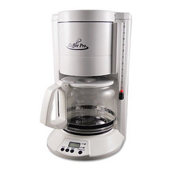 Ogf - Home/Office 12-Cup Coffee Maker, White - Features permanent removable brew basket and cone-style filter. Features include pause 'n serve and two-hour automatic shut-off. Water level sight glass. Includes decanter. Hidden storage for grounded commercial cord. Easy clean and serve design. Number of Cups: 12.