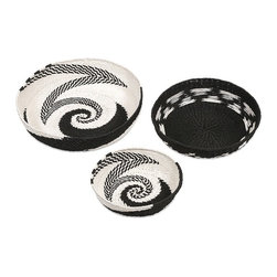 """IMAX - Abasi Swirl Baskets - Set of 3 - Paper rope is expertly woven into bold graphic patterns in the black and white Abasi Swirl Baskets. In a classic round bowl shape, these baskets make a beautiful statement when placed on a tabletop or shelf. Item Dimensions: (4-5-6.5""""h x 12-16-20""""w x 12-15.5-20"""")"""