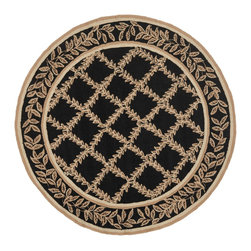 Safavieh - Safavieh Hand-hooked Trellis Black/ Beige Wool Rug (8' Round) - This beige and black wool rug features a trellis design that will never go out of style. Hand-hooked from virgin wool with a durable canvas backing,this rug is made to last,and will protect your floors while remaining soft to the touch.