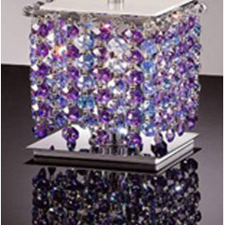 WAREHOUSE OF TIFFANY - Cynthia Purple Crystal-Chrome Table Lamp - • Cynthia Purple Crystal-Chrome Table Lamp