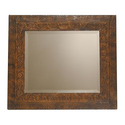Uttermost - Uttermost 11182 B Jackson Rustic Metal Mirror - This rustic metal frame features a brown finish with rust and black undertones. The inner lip has a fluer-de-lis detail and outer edge has a dented appearance. May be hung either horizontal or vertical.
