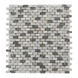 "GlassTileStore - Paragon Atlantic Bubble Mini Brick Pattern  Tile - Paragon Atlantic Bubble Mini Brick Pattern Glass Tile          This captivating combination of pearl, glass and stone tile is artfully arranged in a classic brick pattern. The pearl shell glass will add a durability and lasting exquisiteness to your kitchen, bathroom, or fireplace installation. These tiles are mesh mounted and will bring a sleek and contemporary clean design to any room.         Chip Size: 3/8"" x 5/8""   Color: Shades of White, Metallic Pewter   Material: Pearl Shell Glass, Glass, White Carrera and White Thassos   Finish: Frosted and Polished   Sold by the Sheet - each sheet measures 11 1/2""x12"" (.96 sq. ft.)   Thickness: 8mm            - Glass Tile -"