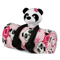 "Total Girl® Panda Blanket - This is such a cute design! A plush panda ""hugs"" the fleece blanket with her arms. It is made of easy-to-clean polyester. The throw measures 50 x 60 inches."