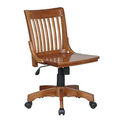 Office Star - Office Star Deluxe Armless Wood Bankers Chair with Wood Seat in Medium Fruitwood - Office Star - Office Chairs - 101FW - This traditional hardwood office desk chair has a tested-and-true character to it and will be appreciated by those who admire a vintage style. Distinguished by its slatted back panel and simple wood seat the 101 retains a charm from days past. Lever-operated auto seat height adjustment tilt tension and lock and a five-wheel caster base offer all the necessary function and pair with a fruitwood finish to round out the 101 Desk Chair.