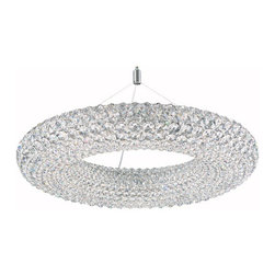 Schonbek - Cassini Stainless Steel 15-Light Clear Spectra Crystal Pendant Light, 25W x 13H - -Spectra Crystal: Spectra Crystal is cut Swarovski crystal with reliable quality. Spectra Crystal has been a registered trademark since 1999 and offers the most important cuts in clear crystal.  - In 1675, renaissance astronomer Giovanni Domenico Cassini discovered a massive gap in the rings of Saturn, which became known as the Cassini Division. This monumental discovery changed the way astronomers viewed the universe, and this collection, inspired by Cassini, will change the way designers view contemporary lighting. Suspended from fine cables, this ring of crystal seems to float like the rings of Saturn, launching unexpected possibilities in interior design. Cassini is available as a circle or an oval and is Made with Swarovski Elements or Spectra Crystal.  -Clear Spectra Crystal  - Wire Length (in inches): 128  - Fixture is cable hung  - Light Source: Halogen  - Bulbs not included  - Chain Length (in inches): 144  - Uses standard line volt dimmer  - Some assembly required  - Lead free crystal  - For shipping outside of USA, please contact Bellacor customer service  - Cleaning and Care Instructions: Every Schonbek product is of heirloom quality and will last for generations. To ensure it retains its brilliance and splendor for years to come, proper care and regular cleaning are necessary. It is recommended that Schonbek products, and particularly their crystal trim, be lightly dusted with a feather or lambswool duster, or soft brush every two months, or whenever it appears dull or dusty. Consult the fixtures trim diagram for detailed cleaning instructions list of approved cleaning solutions. Schonbeck fixtures should never be subjected to any chemical cleaning agents. - See packaging insert for warranty information. Schonbek  - CA2525A
