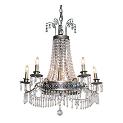 "River of Goods - Crystal Glam 26.75 High Mid Size Chandelier - Look up and admire the grandiose glam! The Glam Grandeur Mid-size Chandelier is an absolute stunning piece! Imagine this hanging over a dining table, revitalizing a foyer area or giving a touch of sophistication to the bedroom. The chandelier is dripping with clear jewels that are accented with an antique silver finish metal work. Cord Length 144"". Max hanging distance: 48"".  Indoor use only. Made of Acrylic, resin and metal.  Requires five 25W bulbs (not included).   UL approved.  2 prong plug."