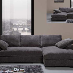 Modern Charcoal Soft Fabric Sectional Sofa Couch Reversible Chaise - Features