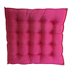 Garden Candy - Pink Silk Seat Cushion - Garden Candy's Silk Seat Cushion is made of 100% raw silk filled with all-natural kapok for optimal comfort, durability, and luxurious style.  Matching thread details give each piece a unique look. Look for our Cinched Button Square or Silk Small Oblong Pillows to complete the look.