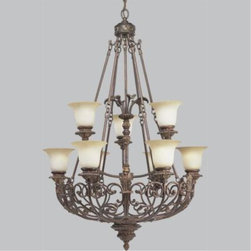 "Progress - Progress-P4536-75-Messina - Chandelier - GeneralSepia glass shadesIron scroll basket design with leaf motifP4534 and P4535 are up light style five and six light chandeliersP4536 is an up light style two tier (3/6)nine light chandelierHand painted aged mahogany finishSteel ConstructionP4534 and P4535 have 6 feet of 9gauge chain supplied, P4536 has 10 feet of 6 gauge chain.Companion chandelier, hall and foyer, close to ceiling, and wall bracket unitsMountingCeiling chain mountedCanopy covers a standard 4"" hexagonal outlet boxMounting strap for outlet box includedThreaded socket ring secures glassElectricalCeramic medium based sockets15 feet of wirePre-wired.   Aged Mahogany Finish with Sepia Haze Glass  Lamp Quantity: 9  Lamp Type: Medium Base  Wattage: 100  UL Certified  Wire Length: 15.00"
