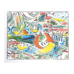 Pre-owned Peter Max - Flower Abstract Lithograph - A Peter Max, German/American (1937 - ), lithograph titled Flower Abstract, edition 165, HC, circa 1980. The lithograph is signed and numbered in pencil.    Image Size:  18 x 23.5 inches  Size:  22 in. x 27 in. (55.88 cm x 68.58 cm)    RoGallery is an established auction house, art dealer and gallery located in the New York City area. In business for over 30 years, they are active fine art buyers & sellers and frequently hold online live art auctions. They occupy a 10,000 square foot building that holds their extensive collection of modern and contemporary artworks including paintings, prints, photographs, & sculpture.