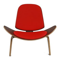 Fine Mod Imports - Shell Three-Legged Accent Chair in Red - Features: