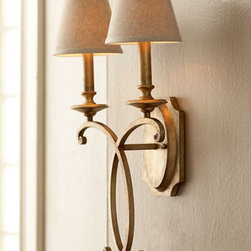 """John-Richard Collection - John-Richard Collection """"Rustic Bronze"""" Sconce - Two-light sconce with an airy flourish features a hand-applied silvery-gold metallic finish. Each light is topped with a beige linen hardback shade. Imported. Made of metal. Uses two 60-watt bulbs. Professional installation required. 13""""W x 8""""D x 24""""T. From the John-Richard Collection."""