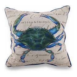 Betsy Drake - Betsy Drake Male Blue Crab Indoor/Outdoor Throw Pillow 18 In. - Add a beautiful pop of color accenting your home inside or out in tropical style with this vivid male blue crab throw pillow that's perfect for your living room sofa, the Adirondack chair on the patio or the chaise lounge in your garden oasis. Designed by artist R.B. Hamilton and Betsy Drake, it features a tropical design on a beige cover highlighted with beautiful writing that looks hand-written with a bright blue background and piping around the edges. The 100% polyester cover is water repellent and is filled with 100% polyester fiber. Measuring 18 inches high by 18 inches long (46 cm by 46 cm), it would look amazing by a pool area, in the guest room or just tossed on the bed, and is made with pride in the U.S.A. It is recommended to spot clean only. This bright and cheerful throw pillow would make an excellent housewarming gift for any tropical decor fans