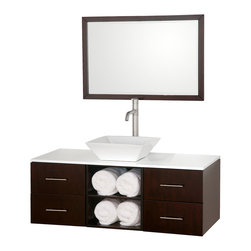 "Wyndham Collection - Wyndham Collection 48"" Abba Single Sink Vanity in Espresso w/ White Glass Top - The beautiful Abba bathroom vanity set showcases versatility with an open storage area for towels, baskets, and other toiletries, four drawers for other accessories, and a mirror that hangs horizontally or vertically to best suit your needs. Customize it with your choice of countertop and sink."