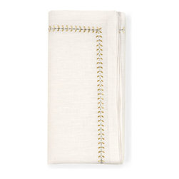 Herringbone Napkin - White/Gold/Silver - Mingle precious metals on the table with the embroidered metallic threads of the Herringbone Napkin in White, Gold, and Silver.  Festive and refined, this elegant dinner napkin design mixes the shades most associated with elaborate dining in a simple, timeless pattern that complements the forms of flatware.  This item is sold as a single unit.
