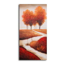 "My Art Outlet - Hand Painted ""Meandering stream"" Oil Painting - Size: 20"" x 40"" (20"" x 40""). Enjoy a 100% Hand Painted Wall Art made with oil paints on canvas stretched over a 1"" thick wooden frame. The painting is gallery wrapped and ready to hang out of the box. A very stylish addition to any room that is sure to get the attention of guests."