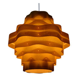 OAKLAMP - Wood Pendant Lamp (Ceiling Lighting),OP2020L-AH - The first photo shows what the lamp looks like when illuminated. The second photo shows what the lamp looks like when turned off.