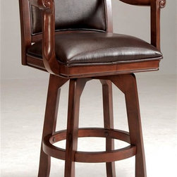 Hillsdale Furniture - Palm Springs Swivel Bar Stool - Medium brown cherry color. Add panache to your bar, game room, or kitchen with Hillsdale Furniture̢s Palm Springs barstool. Finished in a medium brown cherry with brown leather seat cushions and backs, this swivel stool combines comfort with casual living. Composed of solid woods, climate controlled wood composites, and veneers, this stool can find a home in your game room, bar area, or kitchen. Handsome alone or with the matching pub table, game table and chairs. Seat Height: 30 in.. 24 in. W x 22 in. D x 45 in. H