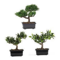 """Nearly Natural - Nearly Natural 8.5"""" Bonsai Silk Plant Collection (Set of 3) - Some people prefer the tiniest Bonsai plant available, and for these people, our 8.5"""" Bonsai set fits the bill perfectly. Lovingly crafted from the finest materials, these miniature trees look so lush, and so real, that you'll be tempted to water them! Standing 8.5"""" tall, and rising from a decorative pot, this three-plant grouping will add charm to any home or office setting."""