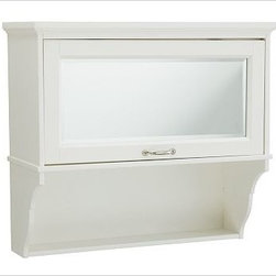 "Matilda Wall Cabinet, White - This convenient cabinet turns typically unused wall space into key storage.25"" wide x 10"" deep x 22.5"" highFinished in a moisture-resistant white paint.Designed to be mounted above the commode; French cleat mounting system provides stability.Cabinet features a beveled mirror and a curved side bracket.Open shelf is perfectly sized for perfume, cosmetics and small objects. Mirrored door lifts to reveal a generous cubby for towels, toiletries and more. View our {{link path='pages/popups/fb-bath.html' class='popup' width='480' height='300'}}Furniture Brochure{{/link}}. Catalog / Internet only."