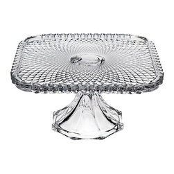 """Godinger Silver - Belmont Crystal Footed Cake Plate - Serve your favorite cakes, pies, and appetizers with our classic yet contemporary crystal footed cake plate. A unique way to add a special touch to any event, this lovely cake plate creates a beautiful presentation while leaving a lasting impression on your guests. Our high quality cake stand is footed, providing a magnificent crystal centerpiece to display and serve your favorite baked confections. * Dimensions: L: 7.7"""" W: 7.7"""" H: 4"""""""