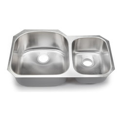 Hahn - Hahn Chef Series 70/30 Double Bowl Series - You cannot go wrong with this classic double bowl sink made from premium stainless steel. As the Hahn chef series boasts a modern, radiant satin finish, industrial grade sound deadening coating and DripGuard, your sink will always be protected from scratches, noise, and condensation.