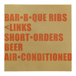 """Vast Playground - American South: Beer & BBQ Print, 20"""" X 20"""" - This grungy, premium wrapped canvas sign was inspired by the signs on a neighborhood store in Centerville, Texas  in the late 1960's as seen in a documentary about American country blues singer Lightnin' Hopkins."""