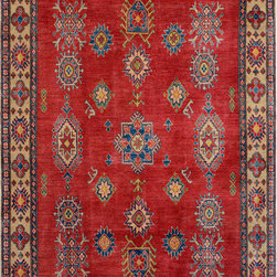 """ALRUG - Handmade Red Oriental Kazak Rug 5' 8"""" x 8' 1"""" (ft) - This Afghan Kazak design rug is hand-knotted with Wool on Cotton."""