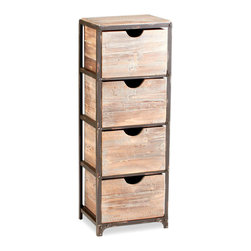 Kathy Kuo Home - Talford Four Drawer Industrial Iron Wood Tall Storage Shelf - Evocative of beach houses and rustic country homes and lodges, the Talford four drawer cabinet is as functional as it is attractive.  Riveted details on the front create visual interest, while four deep drawers offer ample storage.